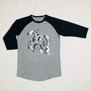 Boys black and grey Jordan raglan shirt size L